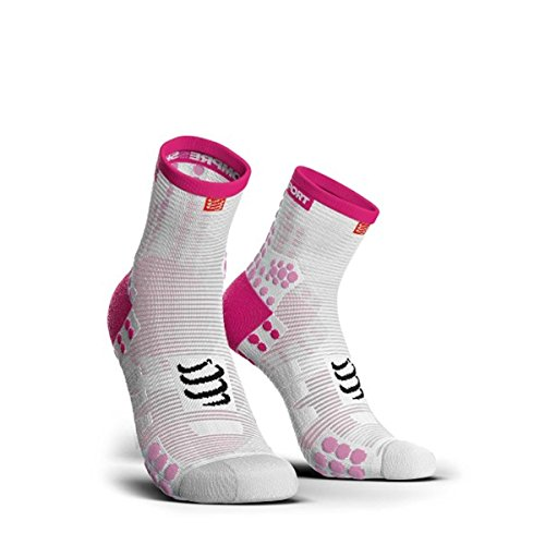 COMPRESSPORT - Calcetines de Carrera V3.0Run Low, Talla 4, Color Rosa y Blanco