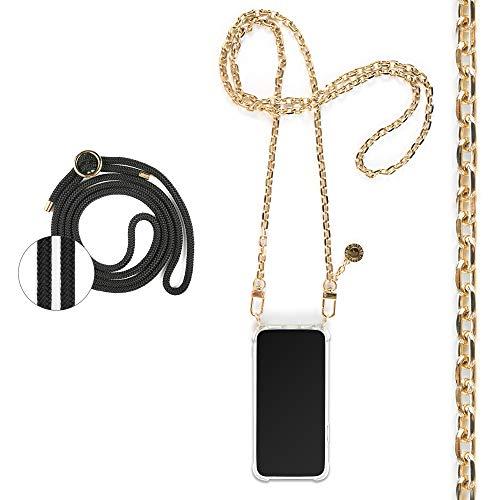 Jalouza Handykette kompatibel mit Apple iPhone 11, Anker-Kette in Farbe Gold mit Handy Hülle zum Umhängen + Schwarze Kordel als Ersatz-Band, Designed in Berlin