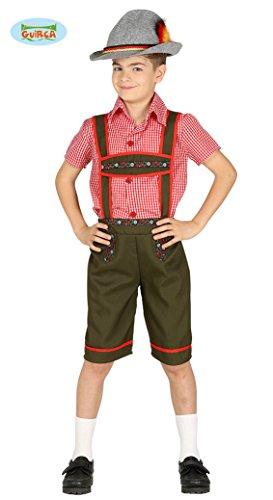 Tiroler Lederhose - Kostüm für Kinder Karneval Fasching Oktoberfest Bayern Gr. 110 - 146, Größe:140/146