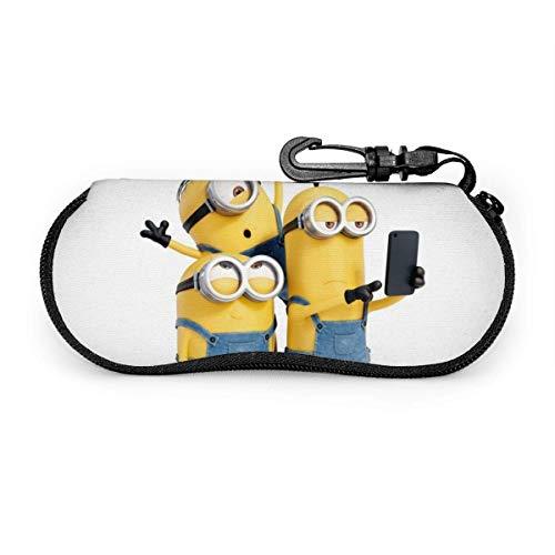 OPO-T Mi-ni-ons Brillenetui, Sonnenbrillen-Organizer, ultraweich, leicht, Neopren, Reißverschluss, Brillenetui zum Aufhängen