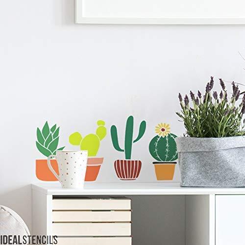 Kaktus Basteln Blatt Schablone, Heim Dekor Schablone, Tropisch Dekor, Farbe Wände, Stoffe, Möbel, Kunst Handwerk, Wiederverwendbar Mylar - Ideal Stencils - M/ A3 - Each Cactus approx 8X15CM