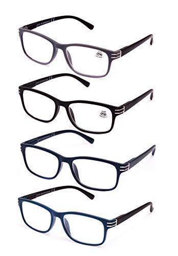 Pack de 4 Gafas de Lectura Vista Cansada Presbicia, Graduadas Dioptrías +1.00 hasta +4.00, Unisex con Montura de Pasta, Bisagras de Resorte, Para Leer, Ver de Cerca (+2.5 (805))