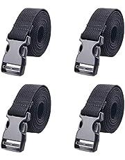 TRIWONDER Correa de Amarre Cinchas de Sujeción de Carga Cinchos para Manipulación de Material 4 Pcs (Negro - 1m)