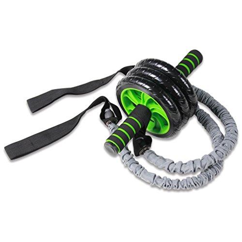 NuoYo Bauchtrainer AB Roller Bauchmuskeltraining Bei Home Training Kostenlose Kneeling Pad und Zwei Elastische Seile Schwarz