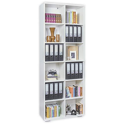 mutatio Regal - Büroregal - Büro Möbel [Viel Platz für Ordner] Standregal - Bücherregal - Weiß ca. B80,2cm x H214,7cm x T35cm| Aktenregal