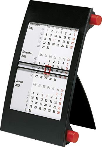 rido/idé 7038000201 Drei-Monats-Tischkalender, 1 Seite = 3 Monate, 110 x 183 mm, Kunststoff-Rahmen mit roten Drehknöpfen, Kalendarium 2021 und 2021