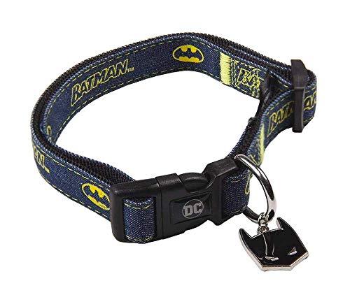 D C Comics Batman Collar para Perros y Gatos, Nylon Suave, Cómodo y Ligero, Collar Ajustable de Obediencia y Adiestramiento para Perros y Cachorros, Uso Diario, Talla XS/S