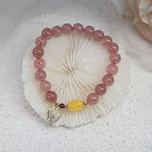QiuYueShangMao Pulsera de ámbar de Cristal de Fresa de Estilo Simple étnico, Colgante de Hoja Hecho a Mano, Pulseras de Cuentas para Mujer, joyería de Moda, joyería de la Amistad