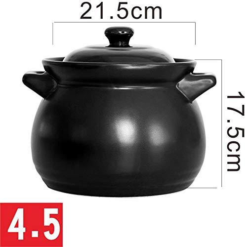 ALIPC Céramique De Haute Capacité Casserole,Multifonction Durable Saucepan,Chaleur-Crock Résistant Four Hollandais,Ménage Cocotte pour Le Cadeau De Pique-Nique Noir 4.5l