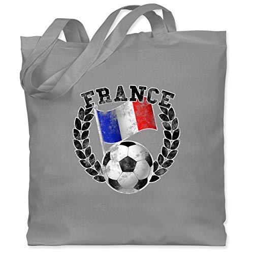 Shirtracer Fußball-Europameisterschaft 2021 - France Flagge & Fußball Vintage - Unisize - Hellgrau - Frankreich - WM101 - Stoffbeutel aus Baumwolle Jutebeutel lange Henkel