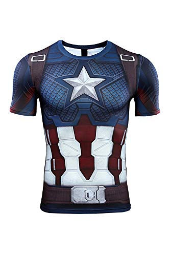Herren Damen Anime Cosplay Kostüm Infinity War - Part II Endgame Captain America Kurzarm T-Shirt