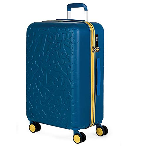 Lois - Maleta de Viaje Mediana 4 Ruedas Trolley. 66 cm Rígida de ABS. Dura Resistente Práctica Cómoda Ligera y Bonito Diseño Marca. Candado TSA. 171160, Color Azul