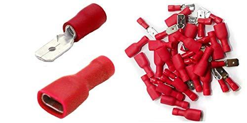 Shentian - 100 capicorda, 50 rossi piatti, 50 manicotti – Dimensioni spinotto 6,3 mm, connettore isolato per auto a compressione
