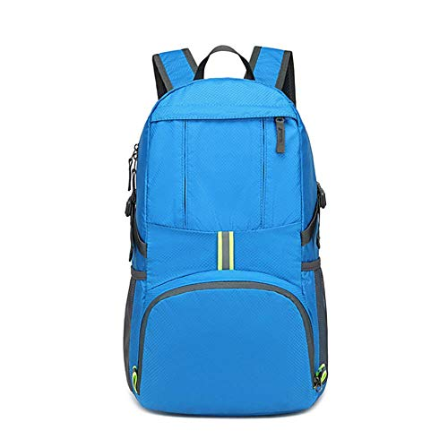 Travel Backpack, Foldable Water Resistant Rucksack, Unisex Nylon Daypack, Lightweight for Hiking Travel Camping Business, 35L (Sky Blue)