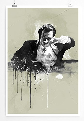 Paul Sinus Art Pulp Fiction John Travolta 90x60cm Splash Art Wandbild als Poster ohne Rahmen gerollt