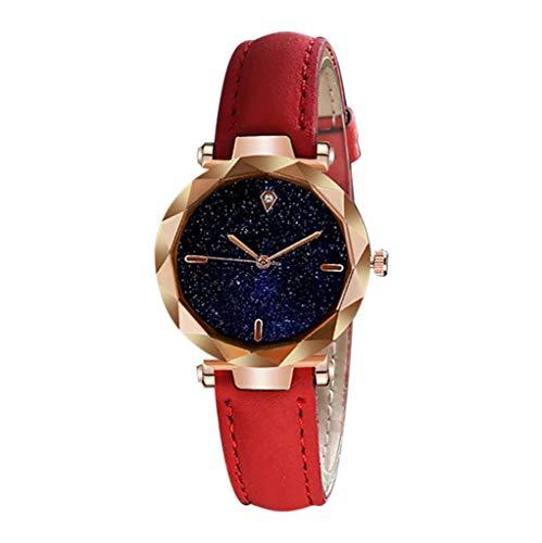 XY Casual Women Starry Sky Wrist Watch Romantic Rhinestone Bracelet Bangle Watch Simple Leather Women Clock Relogio Feminino#W (Color : E)