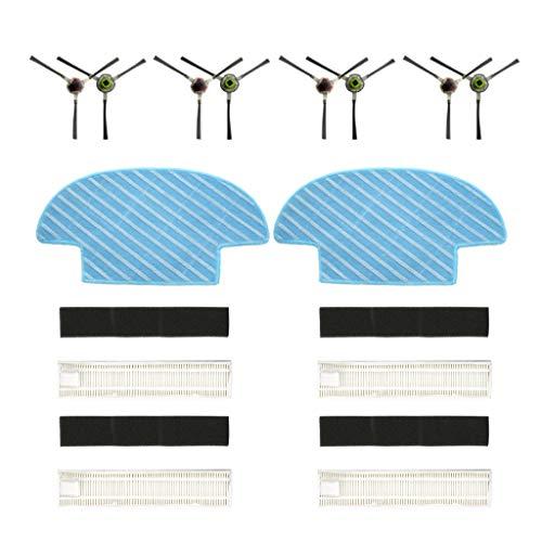 Cyond für Ecovacs Slim Slim 2 Saugroboter Zubehör Filter/Seitenbürste/Rag Roboterstaubsauger Teile Ersatz Kehrmaschine Verschleißteile Set für Tierhaare Allergen Optimiert (B)