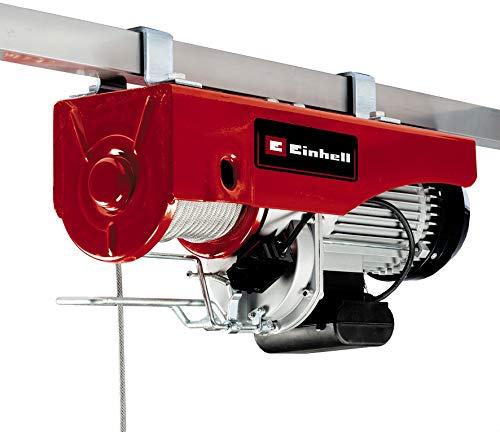 Einhell Seilhebezug TC-EH 1000 (1.600 W, 500 kg auf 18 m, 999 kg auf 9 m, Not-Aus, autom. Bremse, autom. Endabschaltung, inkl. Umlenkrolle + Sicherheitsbügel, 18 m drallfreies Drahtseil Ø 6 mm)