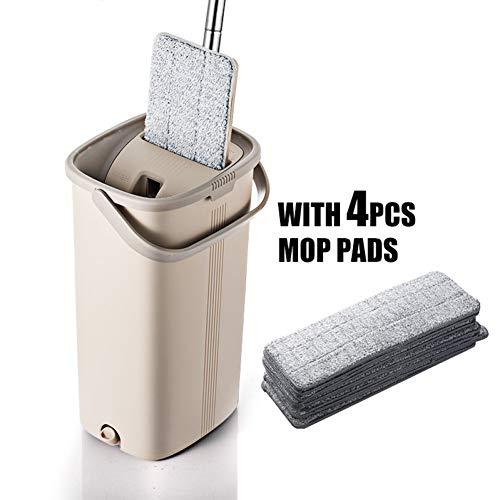DIANZI Mopp Magic Flat Drag & Bucket handsfree installatie voor de automatische reiniging van de kop van 360 graden, ideaal voor het nat en droog reinigen van alle oppervlakken