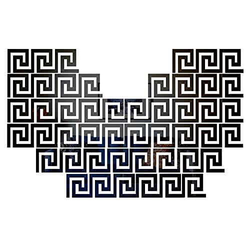 MicButty Espejos adhesivos de pared, 48 piezas, diseño de llave geométrica griega, espejo de pared, adhesivo para habitación de los niños, dormitorio, salón (negro, 100 x 100 mm)