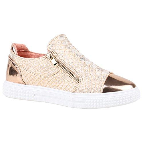 stiefelparadies Damen Schuhe Sneakers Keilabsatz Plateau Glitzer Sneaker-Wedges 155999 Rose Gold Kroko 37 Flandell