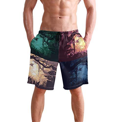 DEZIRO Jungle Paisajes Set de bañador para hombre, pantalones de playa de secado rápido 1 L