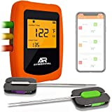 remote bbq thermometer iphone - Wireless Grill Thermometer - Perfect for BBQ, Smoker, Grilling, Cooking, Oven, Comes with 6 Probes, 200ft Wireless Remote Monitor with Magnets, Timer, Alarm, Bluetooth - Perfect Gift
