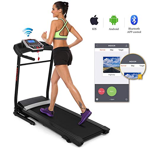 Folding Electric Treadmill Incline with Smartphone APP Control, Power Motorized Fitness Running Machine Walking Treadmill Easy Assembly (2.25 HP-(APP Control)) Treadmills