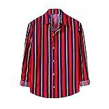 Julhold Camisa casual para hombres a rayas estampado Funky manga larga otoño e invierno todo a juego con botones camisa de negocios Camisa de vestir colorida blusa superior, azul marino, L
