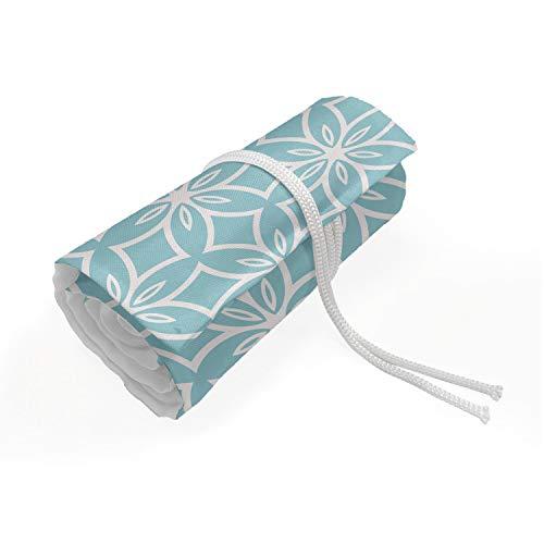 ABAKUHAUS Vintage ▾ Trousse à Crayon Enroulable, Geometrica Floral Motif, Organisateur de Crayon Durable & Portatif, 48 Trous, Pale Blue e Pearl
