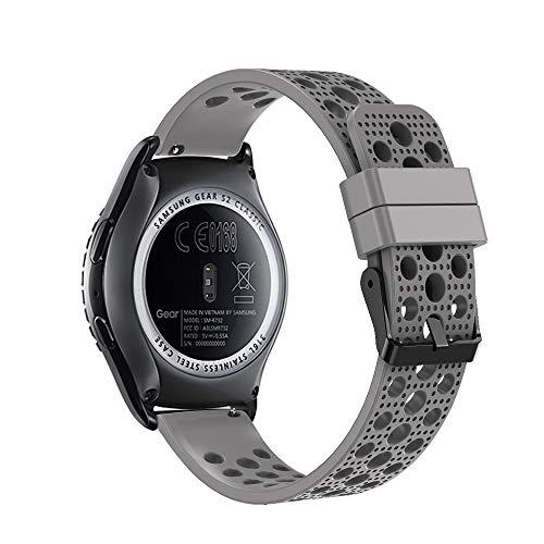 Bracelet de rechange Fit-power pour montre connectée - 20 mm Pour montres Samsung Gear Sport / Samsung Gear S2 Classic / Huawei Watch 2 / Garmin Vivoactive 3 / Garmin Vivomove HR, Breathable Grey