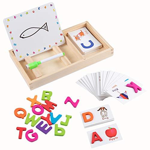 Jacootoys 26 stücke Alphabet Flash Karten Holz ABC Brief Karten Vorschule Lernspielzeug Früherziehung Wörter Spielzeug mit Schreibtafel Geschenk für Kleinkinder