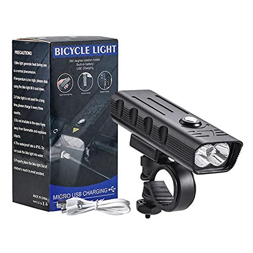 Super Brillante, Potente luz Delantera para Bicicleta, LED USB Recargable, Impermeable, Faro para Bicicleta, 4 Modos de luz, Juego de Luces para Bicicleta para Montar de Noche, Carretera, montaña
