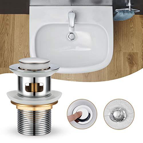 WOOHSE Universal Ablaufgarnitur für Waschbecken & Waschtisch Modernes 11/4 Pop-Up Waschbeckenstöpsel - Abflussgarnitur mit Überlauf, Ablaufventil aus Edelstahl