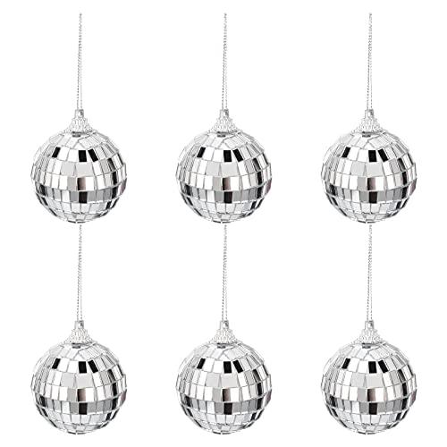 24 mini palla da discoteca ornamenti a forma di palla da discoteca in argento, decorazioni per albero di Natale, decorazioni per feste, matrimoni, decorazioni natalizie