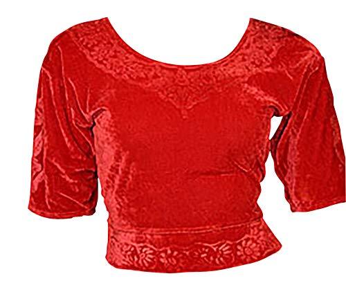 Trendofindia Trendofindia Rot Choli (Sari Oberteil) Samt Gr. S bis 3XL ideal für Bauchtanz (M)