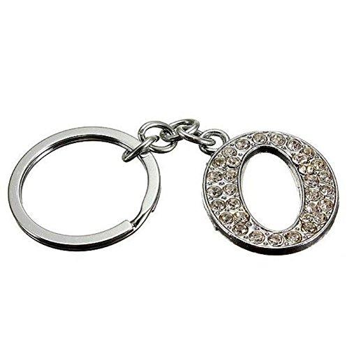 dontdo Llavero con incrustaciones de diamantes de imitación brillantes del alfabeto llavero con letra inicial, regalo unisex O