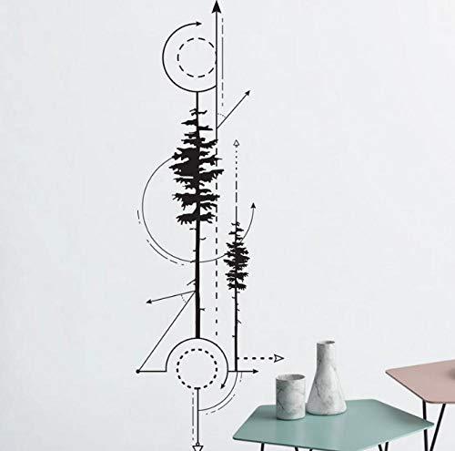 Geometrische Kiefern & Pfeile Aufkleber - technische Zeichnung Vinyl Aufkleber, geometrische Wandkunst, moderne Wand Dekoration 18 X 57 cm