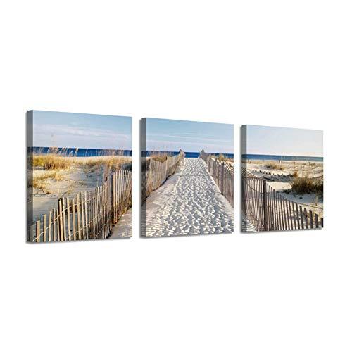 JYSLH Tríptico Costero Cuadro Artístico Paisaje Lienzo Impresiones Playa Cerca Carretera Cartel Pintura para Decoración del Hogar Mural De Decoración De 3 Paneles