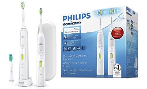 Philips Sonicare HealthyWhite+ 2 Elektrische Zahnbürsten HX8923/34 im Set mit 2 Putzprogrammen, 3 Intensitäten, 3 Aufsätzen & Etui - Zähne aufhellen, Plaque & Zahnverfärbungen entfernen – Weiß