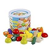 omyzam Juguetes de Madera Comida de Juguete para Niños Frutas y Verduras Juguete Montessori para...
