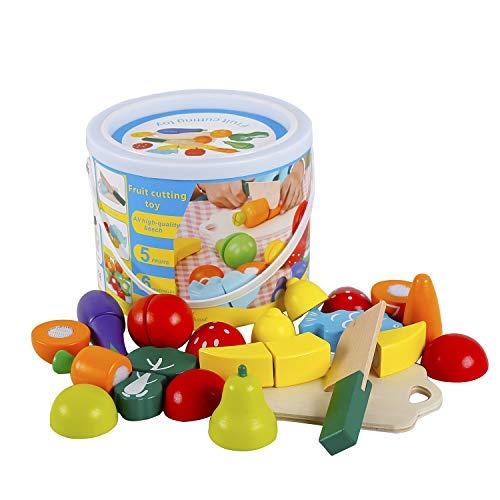 omyzam Juguetes de Madera Comida de Juguete para Niños Frutas y Verduras Juguete Montessori para Cortar Madera Juguete Juegos Educativos para Niños y Niñas de 2+ Años Regalo de Cumpleaños