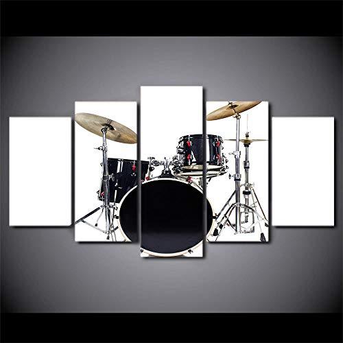 5 Piece Canvas Mural Decoración Del Hogar Sala De Estar Moderna Instrumento Musical De Tambor Negro Simple 30 * 40Cm*2P 30 * 60Cm*2P30 * 80Cm*1P Sin Marco