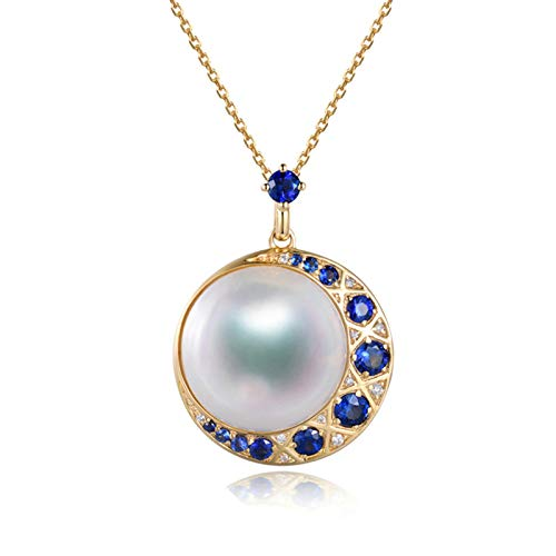 KnSam 18K Oro Amarillo Collar, Cadena de Clavícula Luna con Perla Zafiro Azul, Perla Blanco, Color Oro