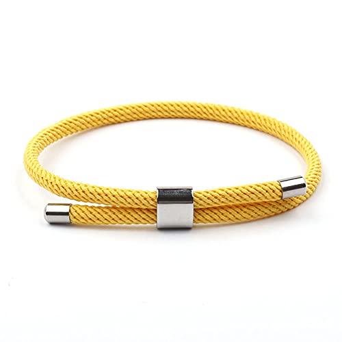 Kangzhiyuan Noter - Pulsera de hilo rojo para hombres y mujeres, diseño minimalista con cuerda de paraguas ajustable, accesorios de mano (color metálico: amarillo)