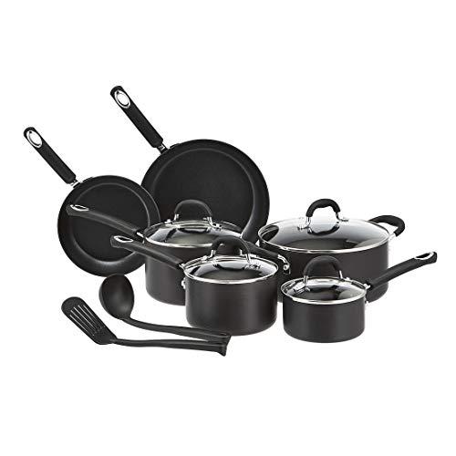 Amazon Basics - Juego de 12 utensilios de cocina antiadherentes (ollas, sartenes y otros utensilios), con recubrimiento anodizado duro, negro