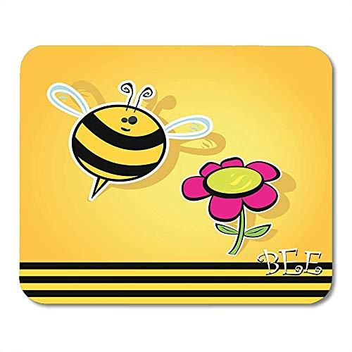 Mousepads Insect Zwarte Abstracte Bee Met Bloem Cartoon Leuke Heldere Baby Vlieg In de buurt van Oranje Dier Kever Muis Mat Speciale School Mousepad Gedrukt 25 X 30 Cm Game Office Niet
