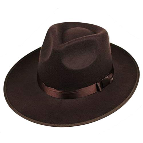 ArtiDeco ArtiDeco Panama Hut Mafia Gangster Herren Filz Fedora Trilby Bogart Hut 1920 Stil Gatsby Kostüm Accessoires (Braun)