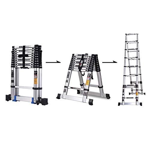 QMFYJ Escaleras, Escalera Telescópica, Escalera de Extensión Escalera Telescópica de Aluminio Portátil para Loft con Mecanismo de Bloqueo con Resorte, Nervaduras Antideslizantes, Capacidad de 330 Lb,