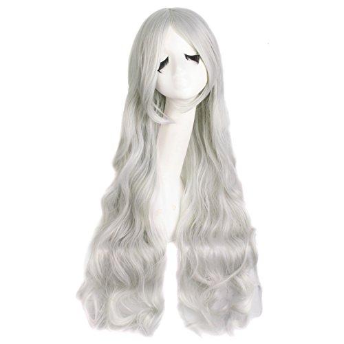 MapofBeauty 31 Pouce/80cm Long Perruque De Costume De Cosplay Frisée Spirale De Cheveux (Argent Gris)